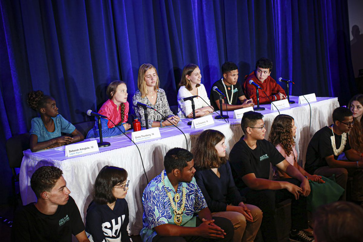 Activist Greta Thunberg and 13 other children from across the world present their official human rights complaint on the climate crisis at a press conference.