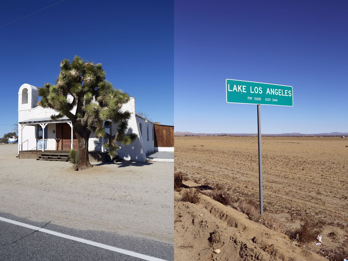 Left: A white church with a large tree in front. Right: A road sign for Lake Los Angeles.