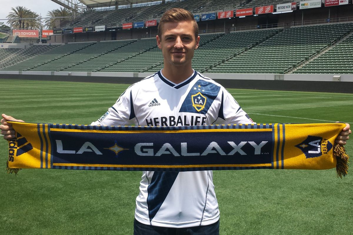 Robbie Rogers in his now home with the Los Angeles Galaxy at the Home Depot Center
