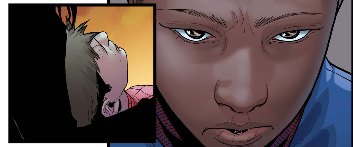Helpless, Miles Morales watches Peter Parker's final moments in Ultimate Comics: Spider-Man #4, Marvel Comics (2011).