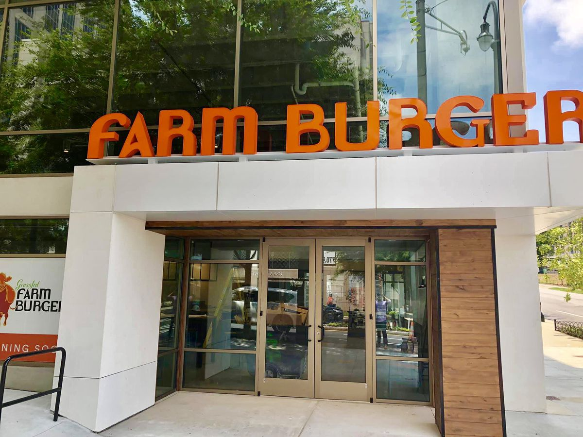 The front entrance to Farm Burger at the Midtown Whole Foods on 14th Street in Atlanta