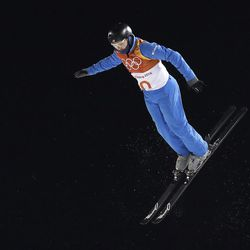 Jonathon Lillis, of the United States, jumps during the men's aerial final at Phoenix Snow Park at the 2018 Winter Olympics in Pyeongchang, South Korea, Sunday, Feb. 18, 2018.