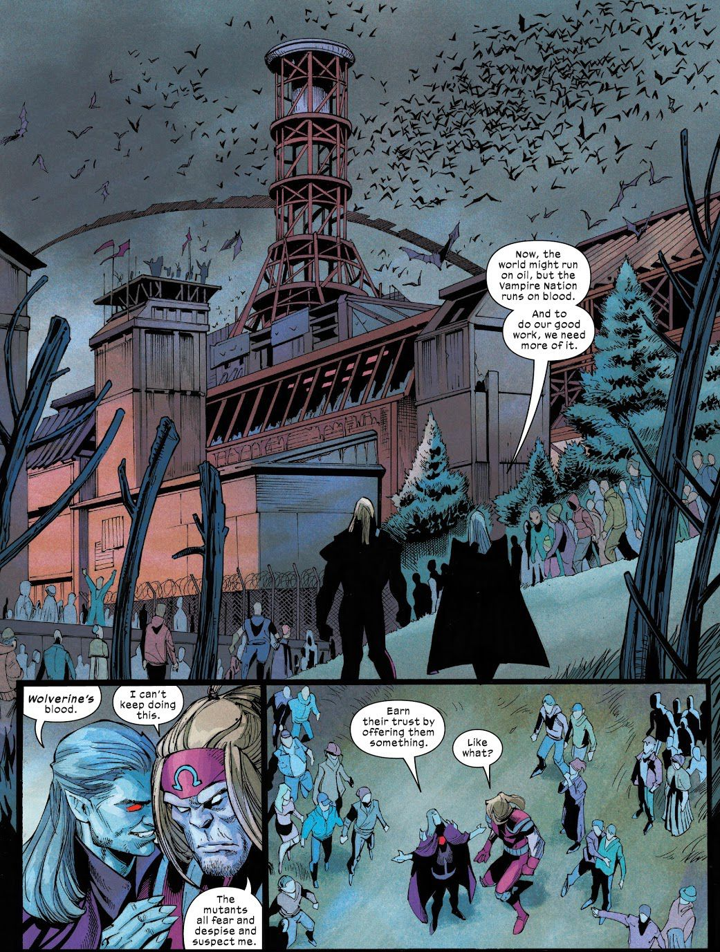 Dracula advises Omega Red on how to infiltrate Krakoa from the vampire settlement in Chernobyl in Wolverine #11, Marvel Comics (2021).