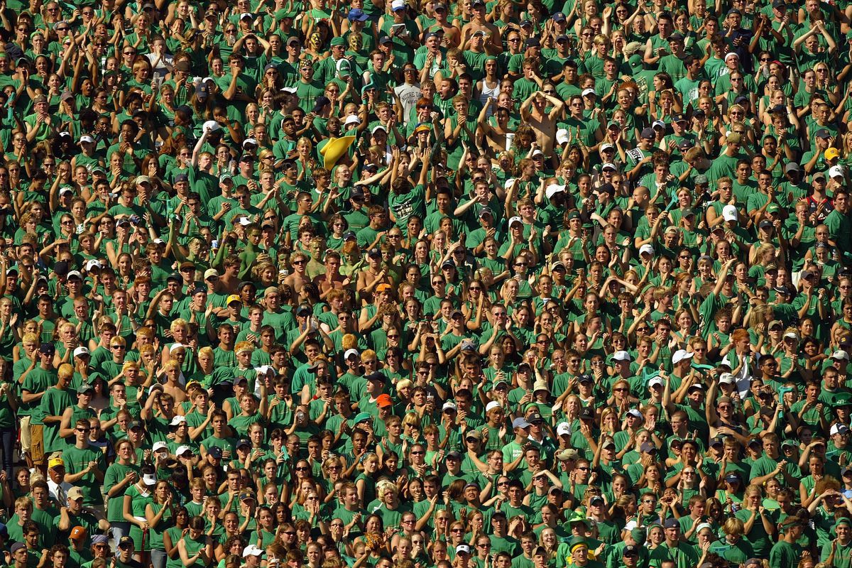 Fighting Irish fans show their support with green shirts