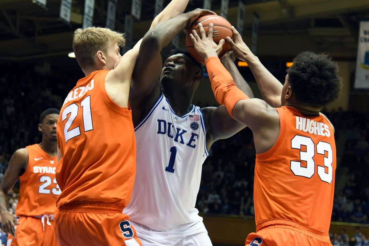495901215055 Syracuse basketball players on Marek Dolezaj s charge from Duke s Zion  Williamson   Call 911