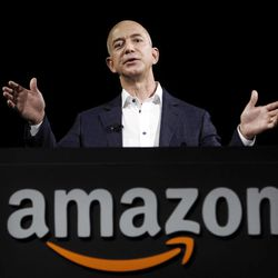 Jeff Bezos, CEO and founder of Amazon, speaks at the introduction of the new Amazon Kindle Fire HD and Kindle Paperwhite in Santa Monica, Calif., Thursday, Sept. 6, 2012.