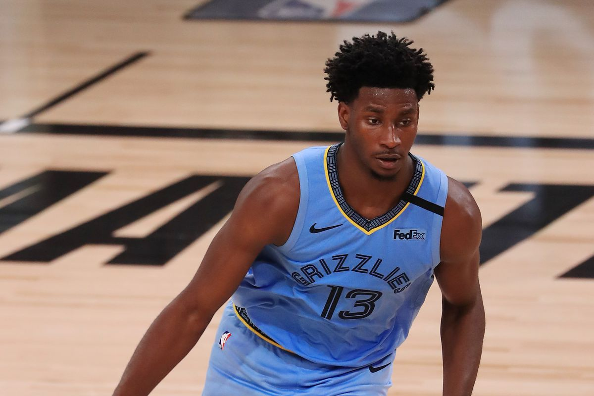 Jaren Jackson Jr. of the Memphis Grizzlies dribbles during the second half against the Portland Trail Blazers at The Arena at ESPN Wide World Of Sports Complex on July 31, 2020 in Lake Buena Vista, Florida.