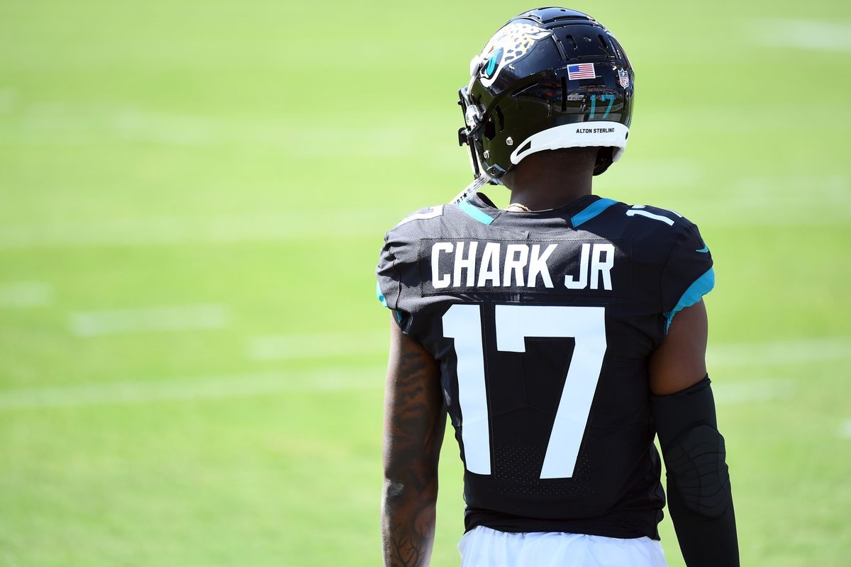 Jacksonville Jaguars wide receiver D.J. Chark (17) before the game against the Tennessee Titans at Nissan Stadium.