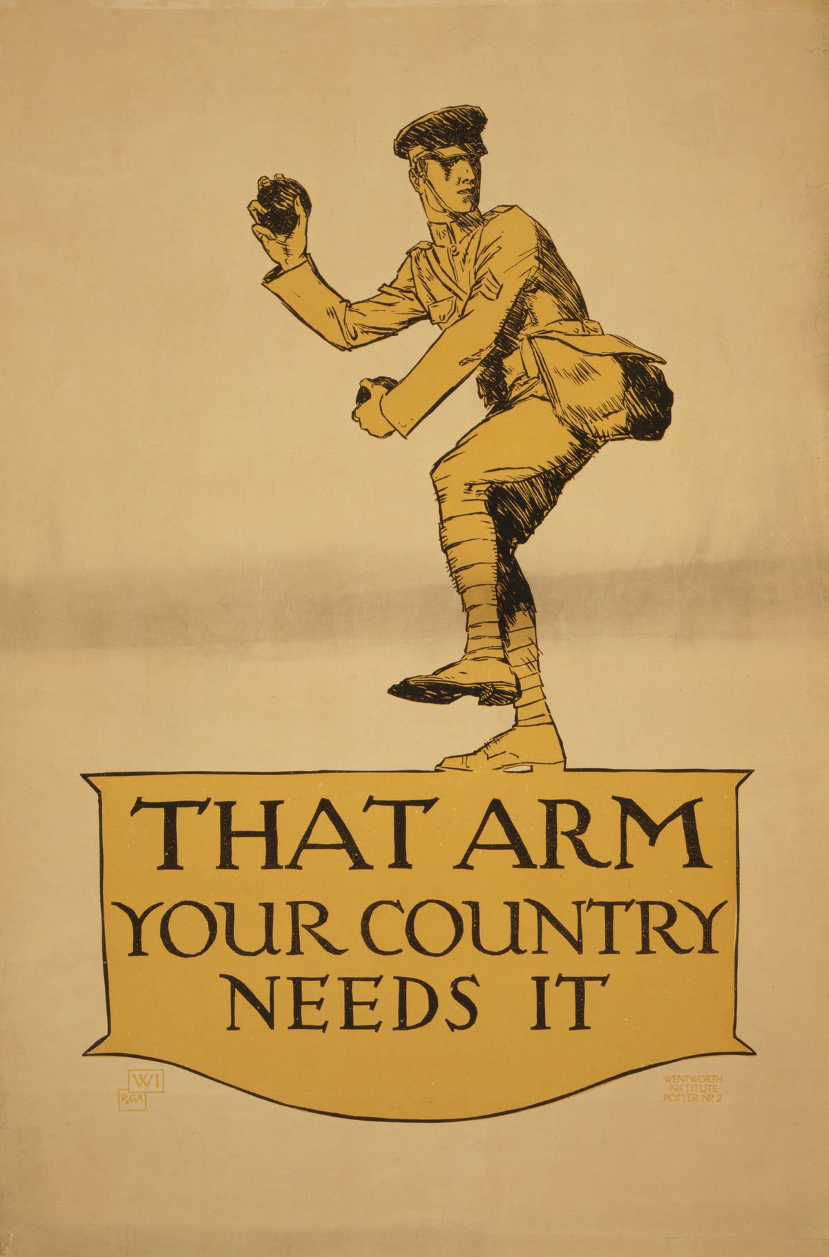 """Soldier Pitching Baseball, """"That Arm, Your Country Needs it"""", World War I Recruitment Poster, 1917"""