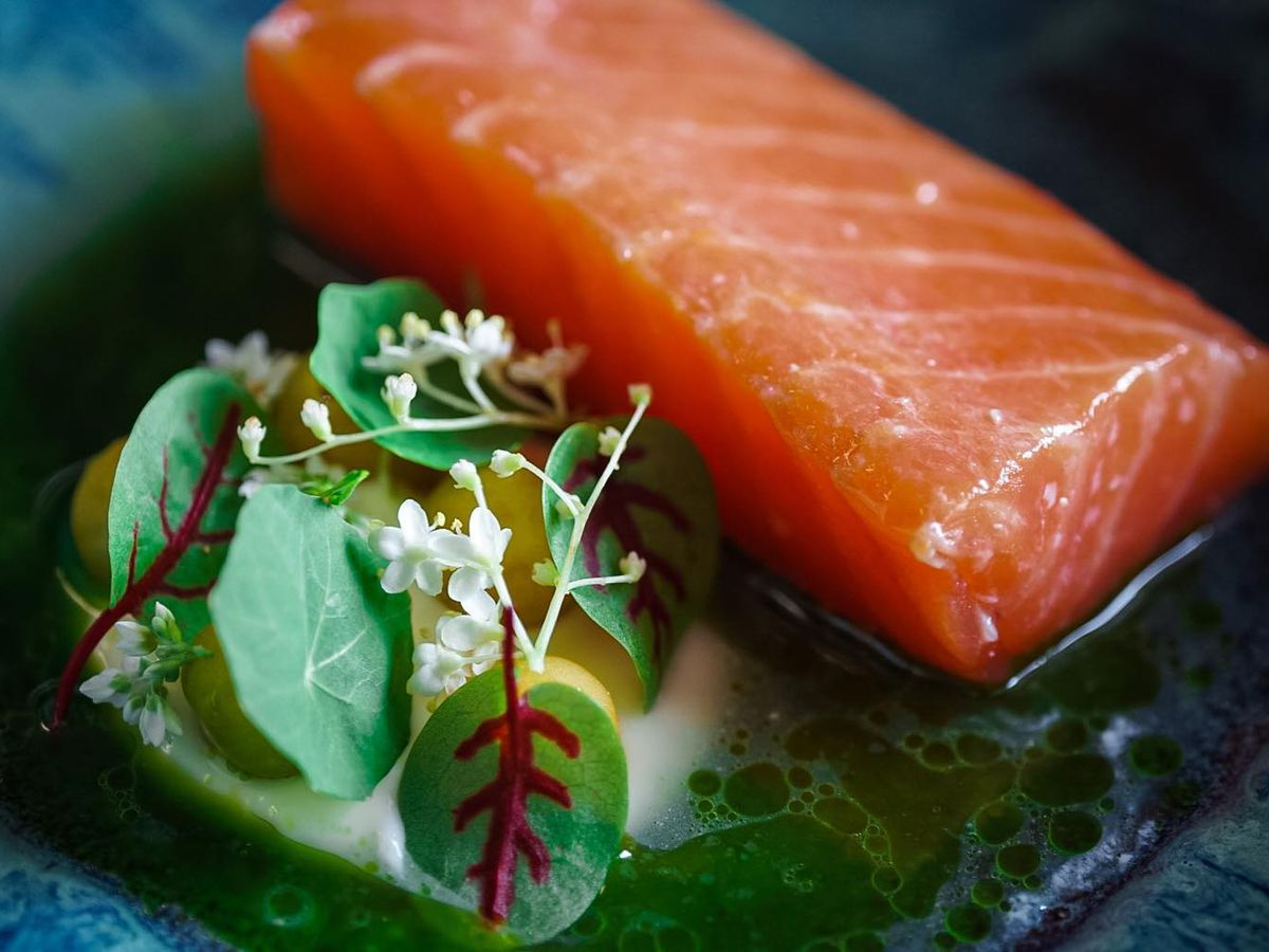 Mulberry smoked salmon with creme fraiche, cucumber juice, salted ground cherries, herb, and pollen oils on a blue plate