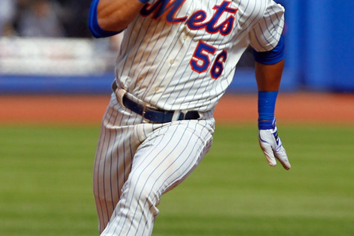 Apr. 5, 2012; Flushing, NY, USA; New York Mets center fielder Andres Torres (56) rounds the bases during the sixth inning against the Atlanta Braves at Citi Field. Mandatory Credit: Debby Wong-US PRESSWIRE