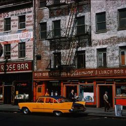 """White Rose Bar and Harmony Restaurant, Whitehall Street, Photo by Charles W. Cushman, 1960, From the Charles W. Cushman Photograph Collection [<a href=""""http://webapp1.dlib.indiana.edu/cushman/results/detail.do?query=subject%3A%22Restaurants%22+AND+state%3"""