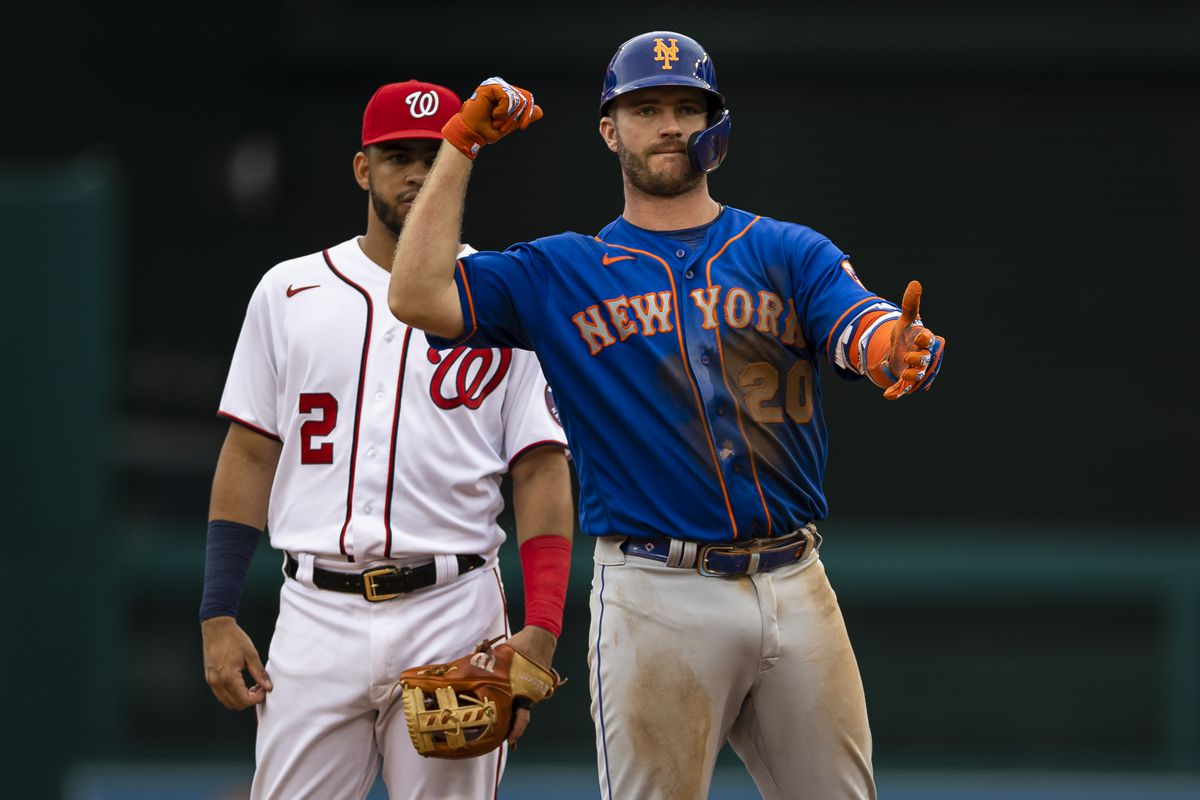 New York Mets first baseman Pete Alonso (20) celebrates in front of Washington Nationals second baseman Luis Garcia (2) after hitting a double during the ninth inning at Nationals Park.