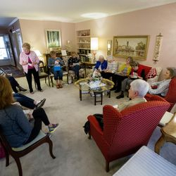 Former Utah First Lady Norma Matheson meets with a group of friends for their monthly book club at the home of Carol McFarland on Thursday, April 20, 2017.