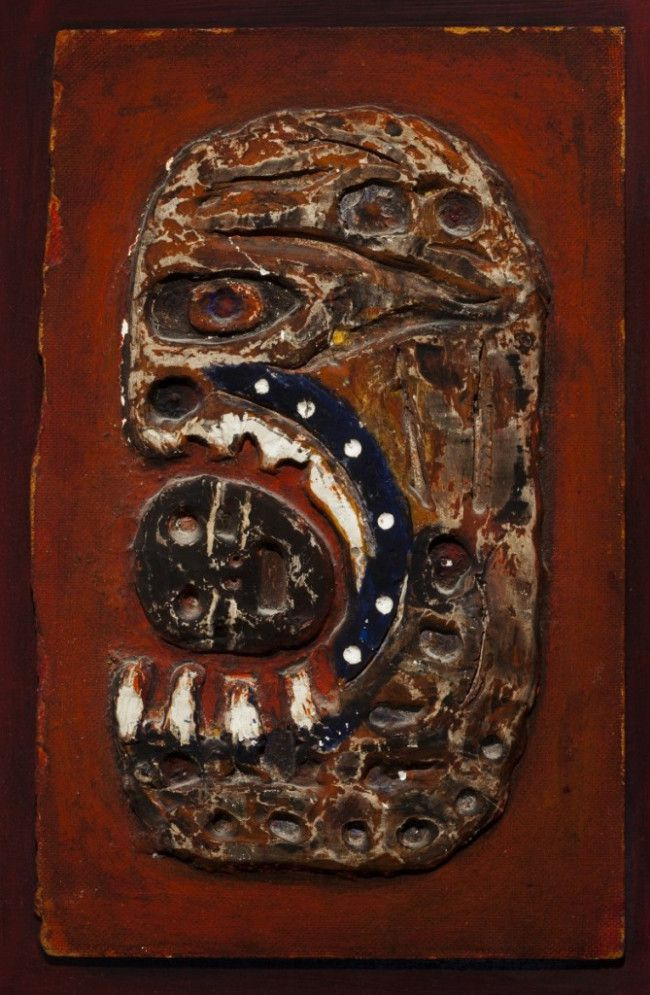 """Dominick Di Meo, Fallen Hero, c. 1956, Paint on plaster and Masonite on wood panel.  <br>Private Collection/ Smart Museum of Art """"Monster Roster"""""""