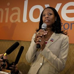 Republican 4th Congressional District candidate Mia Love speaks with supporters at the Utah Republican Party results party, Wednesday, Nov. 7, 2012.