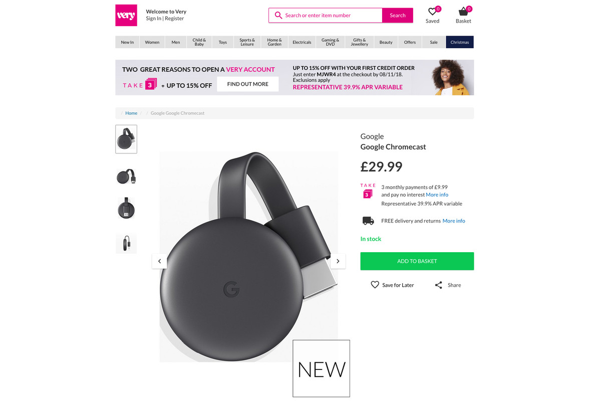 UK retailer temporarily sold the new Google Chromecast this morning