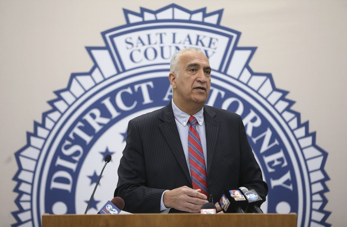 Salt Lake County District Attorney Sim Gill speaks during a press conference in Salt Lake City on Wednesday, May 6, 2020, regarding the April killings of Tony Butterfield and his wife, Katherine Butterfield, of West Jordan.