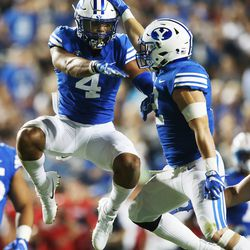 BYU Cougars linebacker Fred Warner (4) celebrates a good play during a game in Provo on Saturday, Sept. 9, 2017.