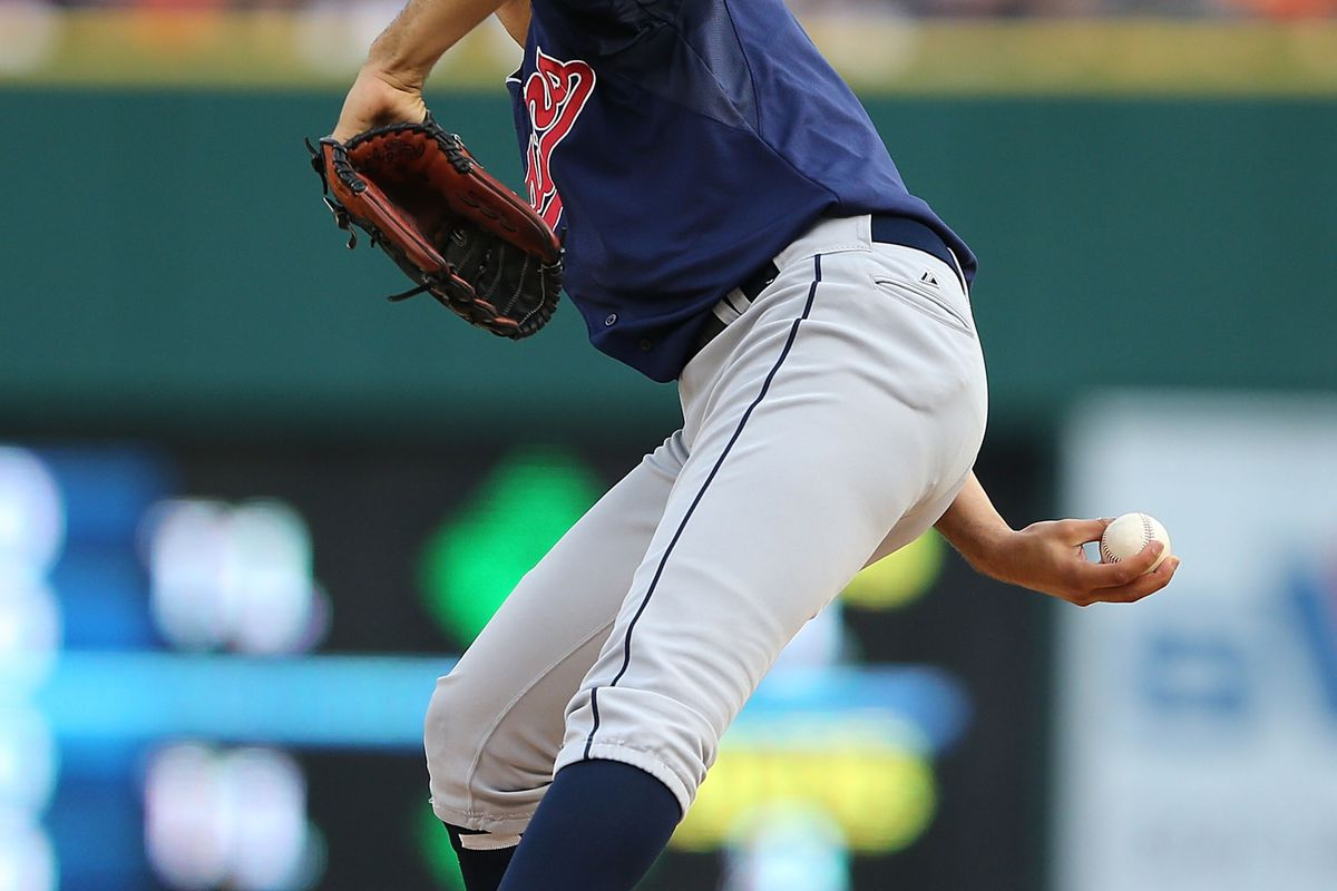DETROIT, MI - AUGUST 04: Ubaldo Jimenez #30 of the Cleveland Indians pitches in the first inning during the game against the Detroit Tigers at Comerica Park on August 4, 2012 in Detroit, Michigan. (Photo by Leon Halip/Getty Images)