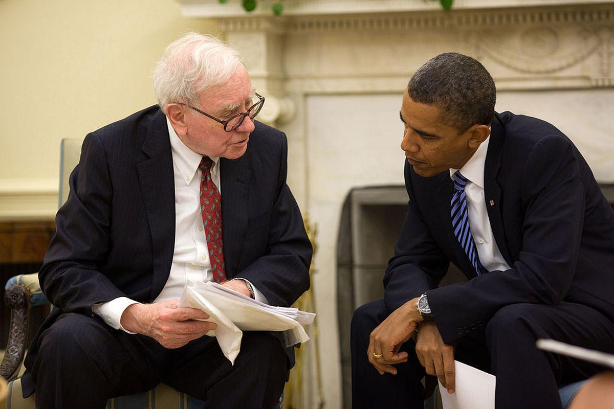 President Barack Obama and Warren Buffett in the Oval Office, July 14, 2010,