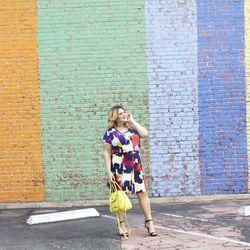 Scoop neck tee in multicolor brushstrokes, $10; full skirt in multicolor brush strokes, $24.99