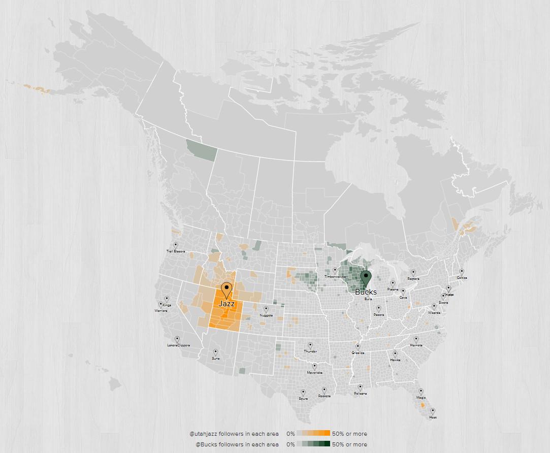 2015 2016 Fanbase Map Milwaukee Utah