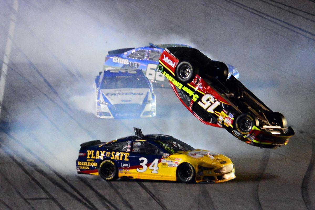 Daytona 500 2014 Clint Bowyer Flips During Budweiser Duel