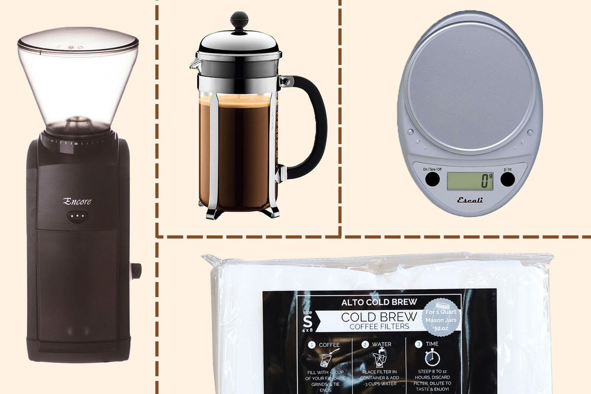 A collage of cold brew equipment