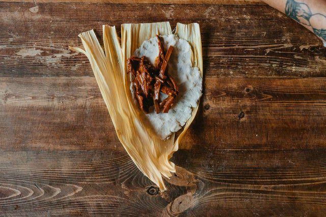 The seitan steak tamale from Lick It Up