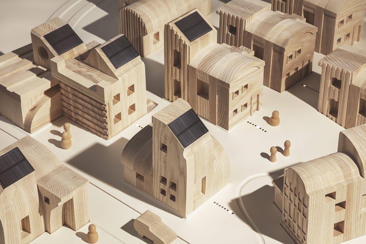 Neighborhood made of small wood homes