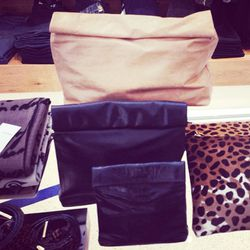 """Paper bag-inspired clutches by LA's <a href=""""http://la.racked.com/archives/2013/01/24/marie_turnors_paper_baginspired_clutches_go_metallic_for_spring.php""""target=""""_blank"""">Marie Turnor</a>."""