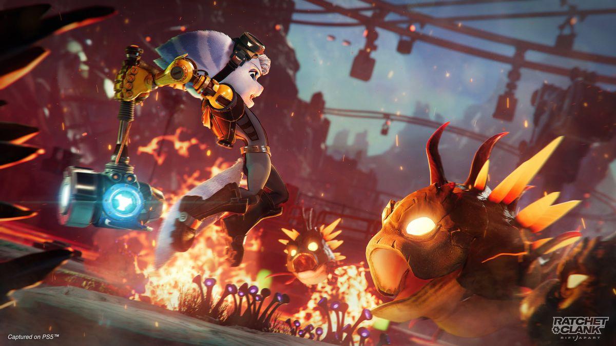 Rivet attacks a lava beast in a screenshot from Ratchet & Clank: Rift Apart