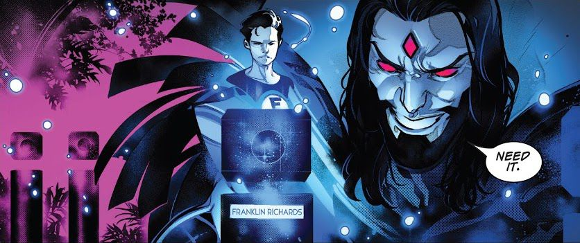 """""""Need it,"""" Mister Sinister possessively muses over a hologram of Franklin Richards — meaning his DNA to make messy genetic experiments with, in Incoming!, Marvel Comics (2019)."""