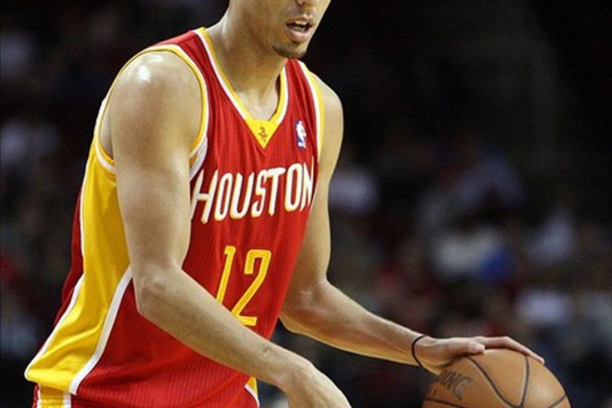 Feb 28, 2012; Houston, TX, USA; Houston Rockets shooting guard Kevin Martin (12) against the Toronto Raptors during the third quarter at the Toyota Center. Mandatory Credit: Thomas Campbell-US Presswire