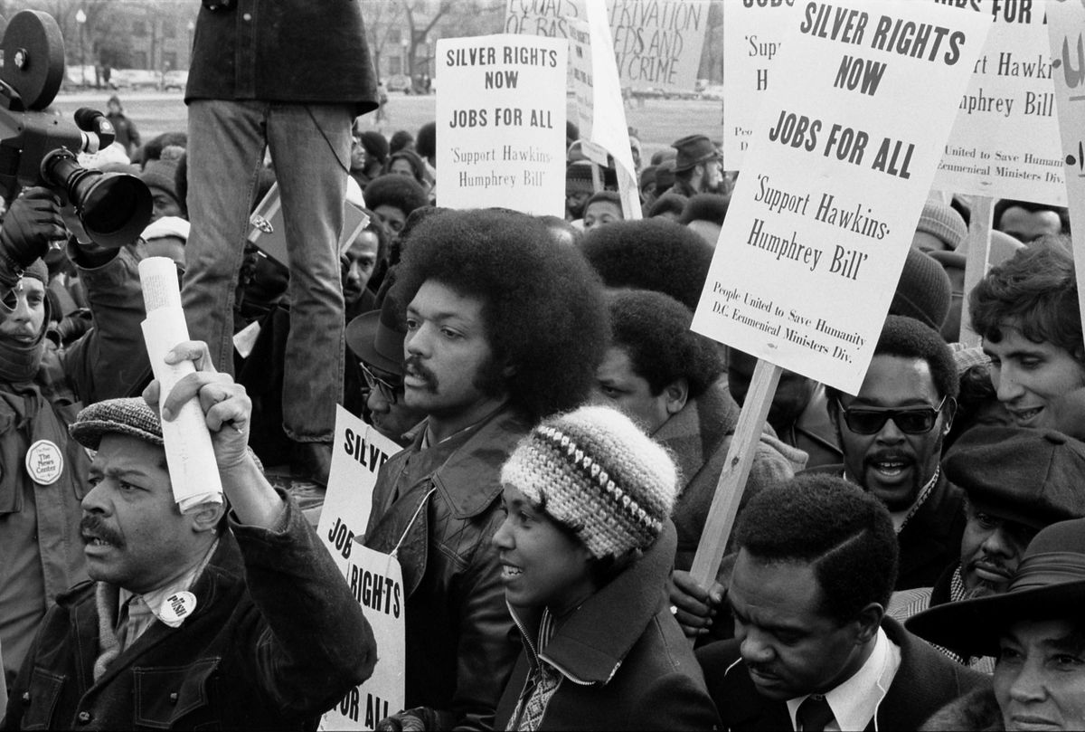 """Sign says: """"Silver Rights Now, Jobs for All, Support Hawkins-Humphrey Bill"""""""