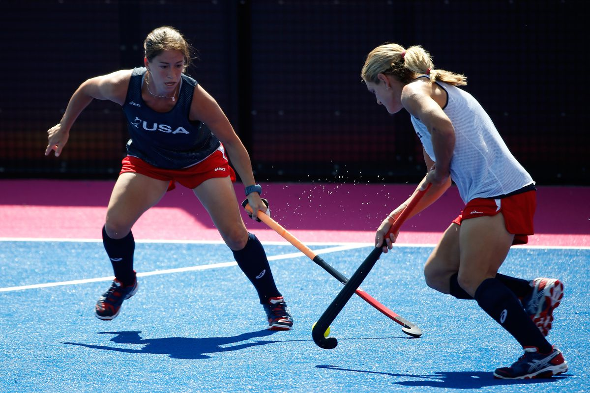 LONDON, ENGLAND - JULY 24:  The United States women's field hockey team practice during a training session ahead of the London Olympic Games at at Riverbank Arena on July 24, 2012 in London, England.  (Photo by Jamie Squire/Getty Images)