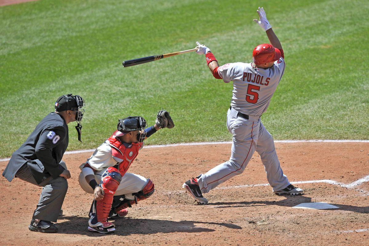 Los Angeles Angels first baseman Albert Pujols (5) strikes out. Credit: David Richard-US PRESSWIRE