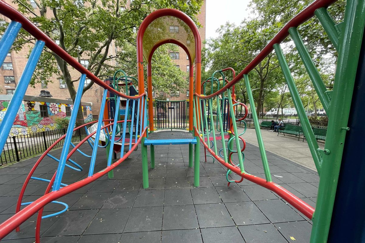 NYCHA workers failed to replace a bridge on a jungle gym at the Mitchel Houses in The Bronx even after they repainted it about a month ago, tenant leaders said, July 19, 2021.