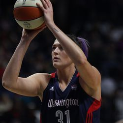 Washington Mystics' Stefanie Dolson (31) shoots the first of her two technical free throws.