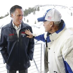 Mitt Romney, left, talks with Spence Eccles at the Utah Olympic Park in Park City on Friday, Feb. 3, 2017. Romney was at the park for a staff celebration of the 15-year anniversary of the 2002 Olympics.