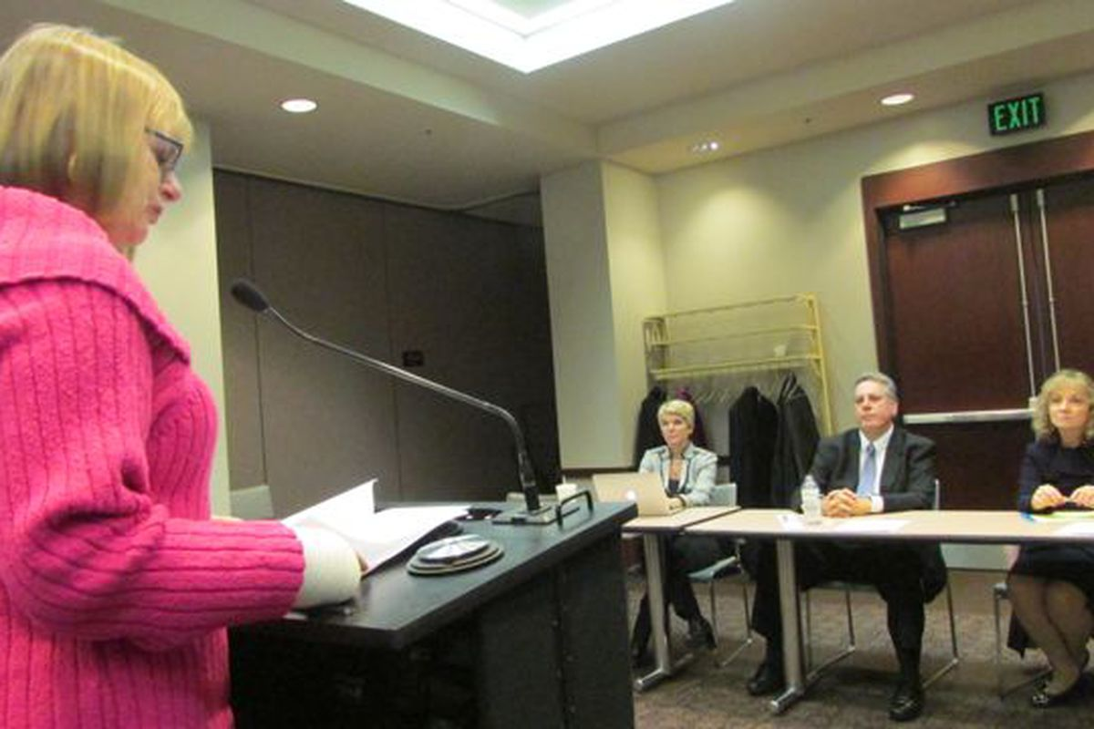 Jill Shedd, executive secretary of the Indiana Association of Colleges for Teacher Education, testifies to state board members.