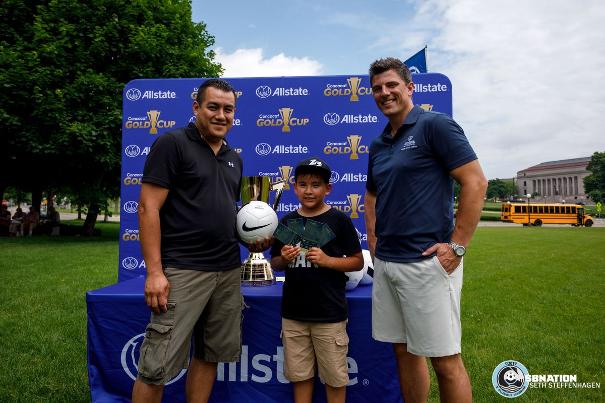 June 17, 2019 - Saint Paul, Minnesota, United States - A local family receives tickets to the local Gold Cup matches while at the Allstate Day For Play event on the lawn of the Minnesota State Capitol.