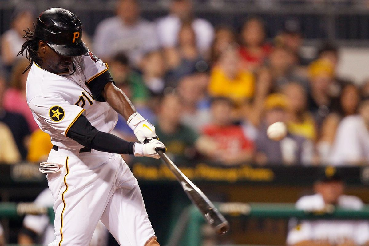PITTSBURGH - JUNE 08: Andrew McCutchen #22 of the Pittsburgh Pirates hits a double in the tenth inning against the Arizona Diamondbacks during the game on June 8, 2011 at PNC Park in Pittsburgh, Pennsylvania.  (Photo by Jared Wickerham/Getty Images)