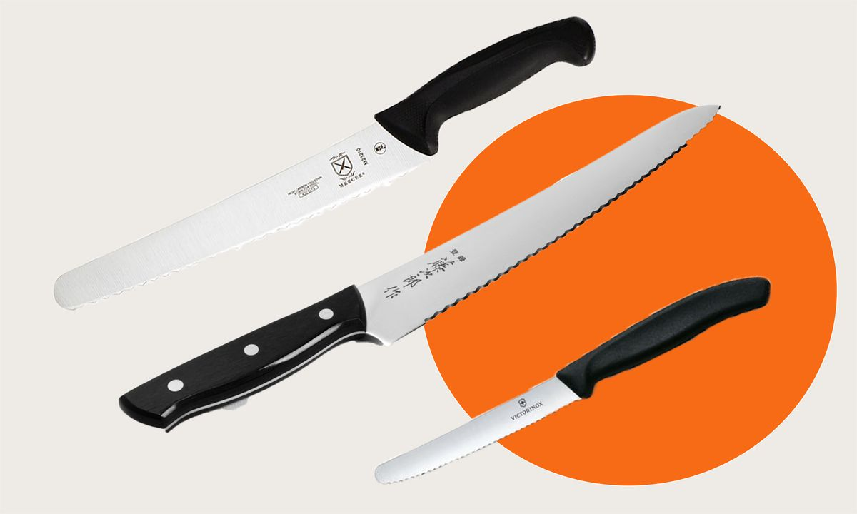 Three serrated knives on simple background