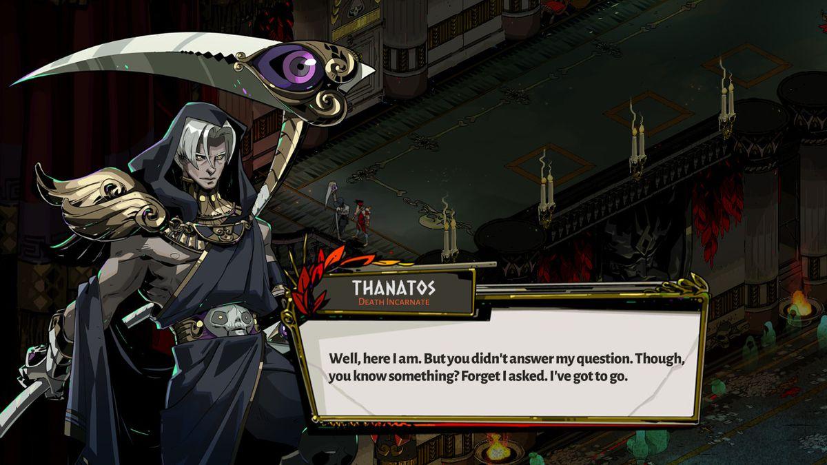 Thanatos of Hades blames Zagreus.