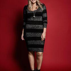 Sweater dress, $68.50; beanie, $22.50