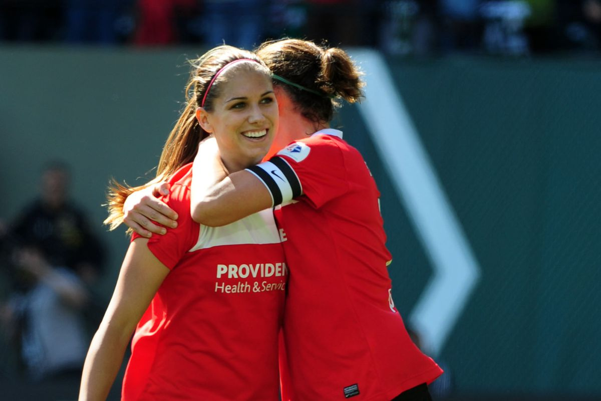 Christine Sinclair and Alex Morgan combined all evening as the Thorns routed the Breakers, 6-3.