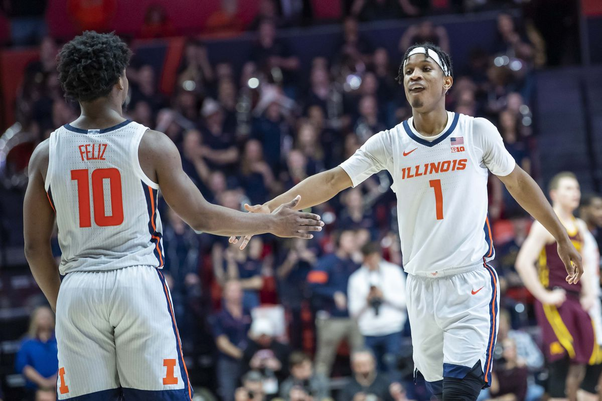 Illinois Fighting Illini guard Trent Frazier celebrates with guard Andres Feliz during the second half against the Minnesota Golden Gophers at State Farm Center.