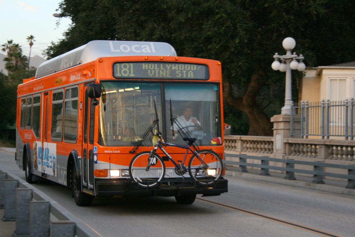 Bus on a bridge